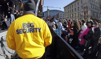 A security guard works Jan. 28, 2012, at a concert in Super Bowl Village in Indianapolis. (Associated Press)