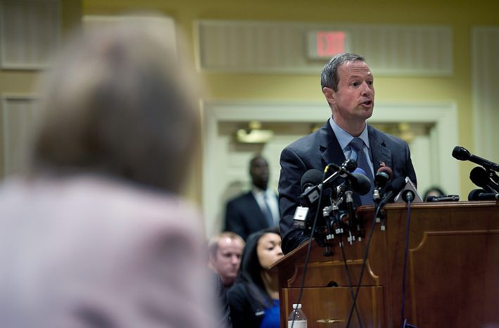 Maryland Gov. Martin O'Malley testifies in favor of his gay-marriage bill Tuesday before the Senate Judiciary Committee in Annapolis. He said the bill would give stability to gay couples without infringing on others' religious convictions. (Barbara L. Salisbury/The Washington Times)