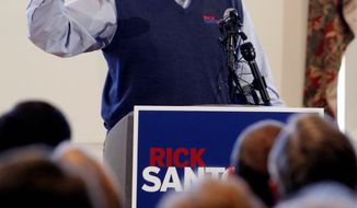 Former Sen. Rick Santorum of Pennsylvania, a Republican presidential candidate, speaks during a campaign stop at the Lone Tree Golf Club in Lone Tree, Colo., on Tuesday. (Associated Press)