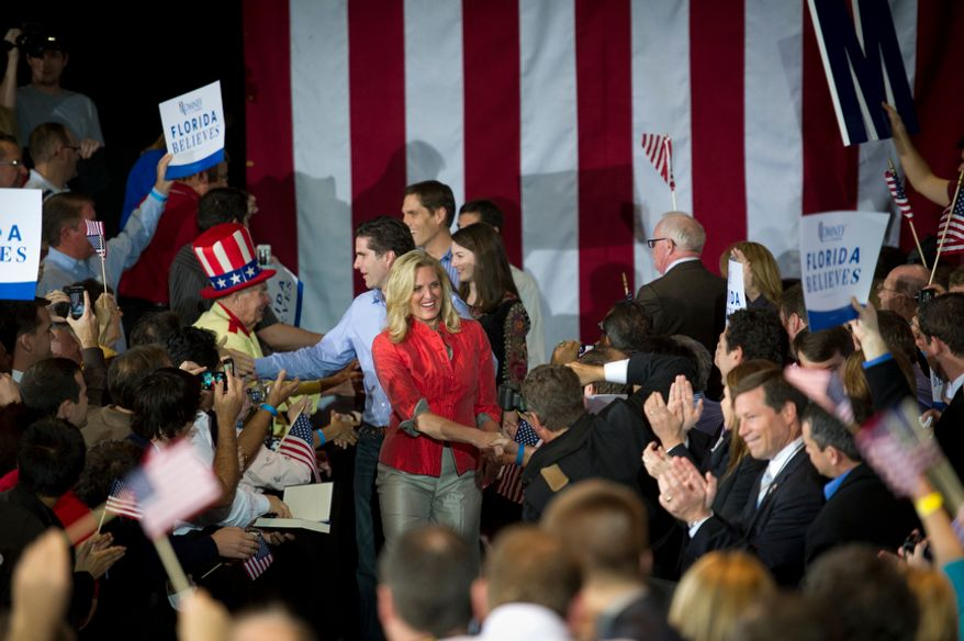 Ann Romney is greeted by supporters as she arrives to introduce her husband, Republican presidential candidate and former Massachusetts Governor Mitt Romney at the Tampa Convention Center in Tampa, Fla., Tuesday, January 31, 2012. (Rod Lamkey Jr/ The Washington Times)