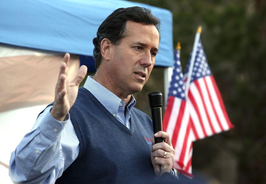 Republican presidential candidate former Pennsylvania Sen. Rick Santorum speaks during a Tea Party rally Tuesday, Jan. 31, 2012, in Las Vegas. (AP Photo/John Gurzinski)