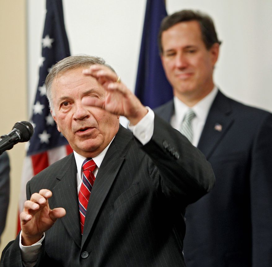 Former Colorado congressman Tom Tancredo on Wednesday introduces Republican presidential hopeful Rick Santorum at Colorado Christian University in Lakewood. Mr. Tancredo gave Mr. Santorum his endorsement. (Associated Press)