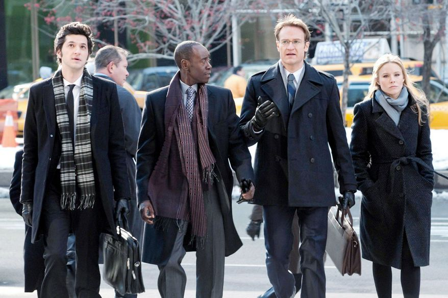 "Don Cheadle plays TV's first black antihero in Showtime's ""House of Lies"" starring (from left) Ben Schwartz as Clyde Oberholt, Mr. Cheadle as Marty Kaan, Josh Lawson as Doug Guggenheim and Kristen Bell as Jeannie Van Der Hoovenn. (Photo courtesy Showtime)"
