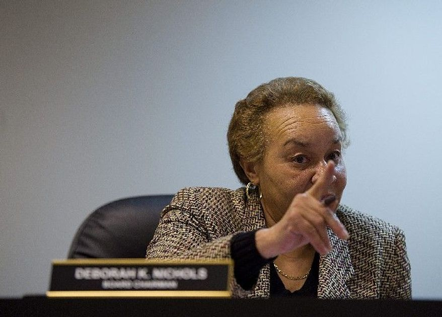 """""""This is a serious matter,"""" D.C. Board of Elections and Ethics Chairwoman Deborah Nichols says to witnesses at a hearing to listen to allegations of petition fraud in gathering signatures to get Ward 7 council member Yvette M. Alexander's name on the April 3 ballot. (Barbara Salisbury/The Washington Times)"""
