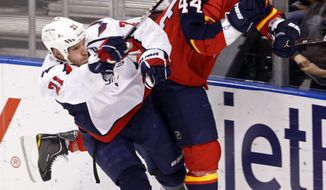 Washington Capitals center Brooks Laich  checks Florida Panthers defenseman Erik Gudbranson during the first period in Sunrise, Fla., Wednesday, Feb. 1, 2012. (AP Photo/Alan Diaz)