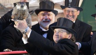 Groundhog Club handler John Griffiths holds Punxsutawney Phil, the weather-prognosticating groundhog, during the 126th celebration of Groundhog Day on Gobbler's Knob in Punxsutawney, Pa., on Thursday, Feb. 2, 2012. Phil saw his shadow, forecasting six more weeks of winter weather. (AP Photo/Gene J. Puskar)