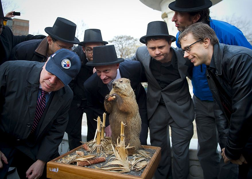 """Mike Silverstein (in Steelers cap), Andy Klingenstein (second from left), Will Stephens (third from left), D.C. Council member Jack Evans (fourth from left), Aaron DeNu (third from right), Andrew Huff (second from right) and Kevin O'Connor pretend to listen for the """"predictions"""" of Potomac Phil during the inaugural Groundhog Day event at Dupont Circle in Washington on Thursday, Feb. 2, 2012. (Rod Lamkey Jr./The Washington Times)"""