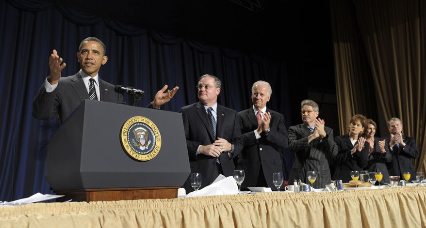 President Obama speaks at the annual National Prayer Breakfast in Washington on Thursday, Feb. 2, 2012. (AP Photo/Susan Walsh)