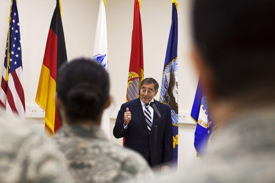 Defense Secretary Leon Panetta speaks Feb. 3, 2012, to service members at Ramstein Air Base in Germany. (Associated Press)