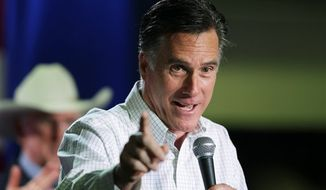 Former Massachusetts Gov. Mitt Romney speaks at a campaign rally, Friday, Feb. 3, 2012, in Elko, Nev. (AP Photo/Ted S. Warren)