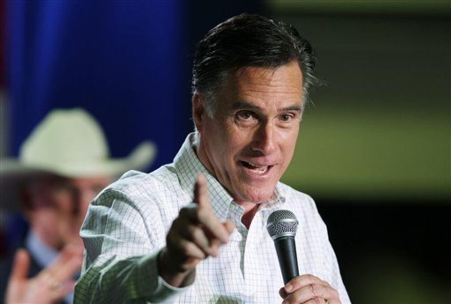 Former Massachusetts Gov. Mitt Romney speaks at a campaign rally, Friday, Feb. 3, 2012, in Elko, Nev. (AP Photo/Ted S. Warren)