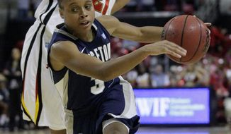 Georgetown point guard Rubylee Wright also contributes scoring as her 7.1 points a game attest.(AP Photo/Patrick Semansky)