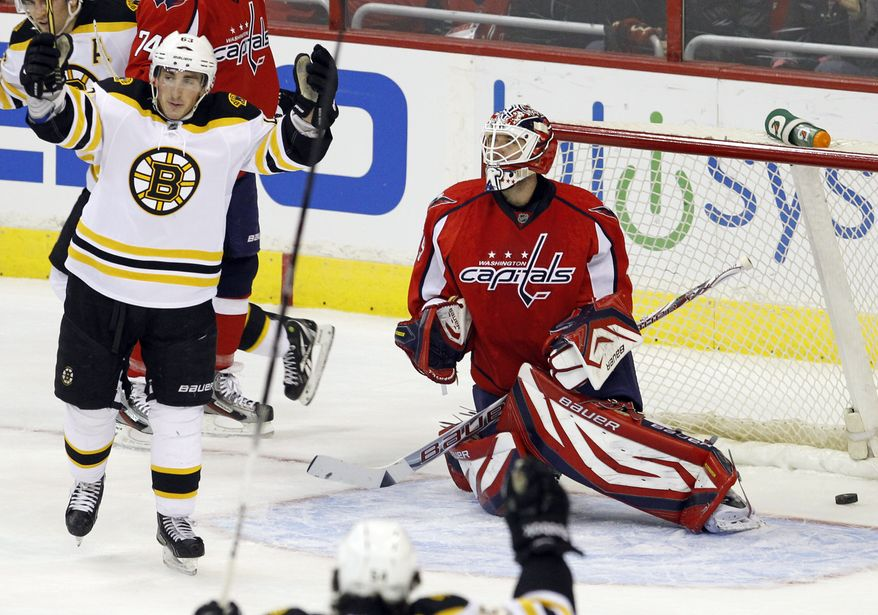 Boston Bruins left wing Brad Marchand celebrates after scoring on Washington Capitals goalie Tomas Vokoun during the first period in Washington, Sunday, Feb. 5, 2012. The Caps lost 4-1. (AP Photo/Ann Heisenfelt)