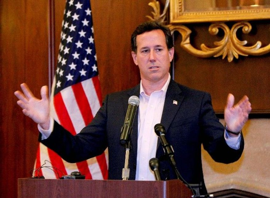 Republican presidential hopeful Rick Santorum is statistically tied with Mitt Romney in Minnesota, is the favorite in Missouri and is running ahead of Newt Gingrich in Colorado, polls show. (Associated Press)