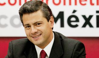 Enrique Pena Nieto is the candidate of the Institutional Revolutionary Party in Mexico's presidential election, which is set for July 1. Mr. Nieto has been quoted as supporting a withdrawal of military forces from the war on the drug cartels. (Associated Press)