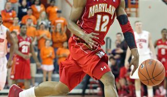 ** FILE ** Maryland's Terrell Stoglin runs down court after stealing the ball in the second half of an NCAA basketball game against Clemson on Tuesday, Feb. 7, 2012, in Clemson, S.C. (AP Photo/Anderson Independent-Mail, Mark Crammer)