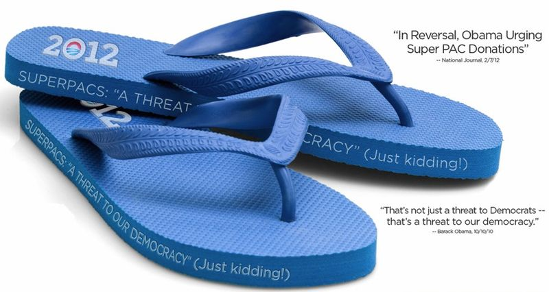 """The Republican National Committee's answer to President Obama's swanky fashion-inspired campaign fundraising: the """"Super Pac"""" flip flop. (image from Republican National Committee)"""