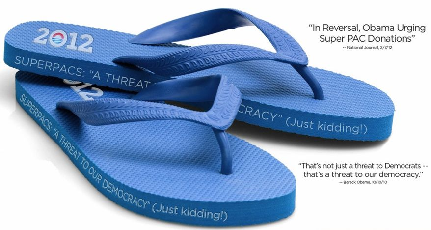 "The Republican National Committee's answer to President Obama's swanky fashion-inspired campaign fundraising: the ""Super Pac"" flip flop. (image from Republican National Committee)"