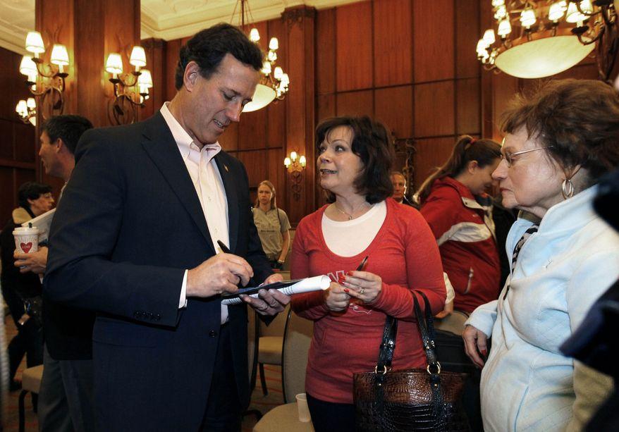 Republican presidential candidate, former Pennsylvania Sen. Rick Santorum speaks in Colorado Springs, Colo., Tuesday, Feb. 7, 2012. (AP Photo/Chris Carlson)