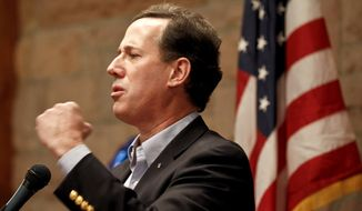 Republican presidential candidate, former Pennsylvania Sen. Rick Santorum speaks in Colorado Springs, Colo., Tuesday, Feb. 7, 2012. (AP Photo/Chris Carlson)