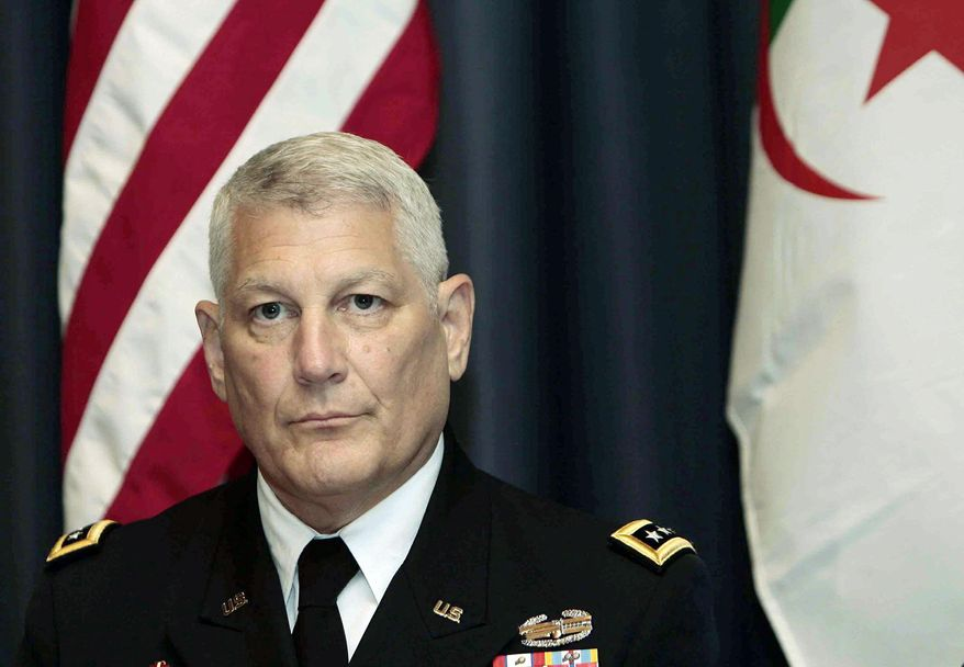 Gen. Carter Ham, the head of the U.S. African command, attends a conference on terrorism in the Sahara in Algiers, Algeria, Thursday, Sept. 8, 2011. The two-day conference on terrorism in the Sahara was originally expected to focus just on al-Qaida, but has now become inextricably tied up with the civil war in neighboring Libya. (AP Photo)