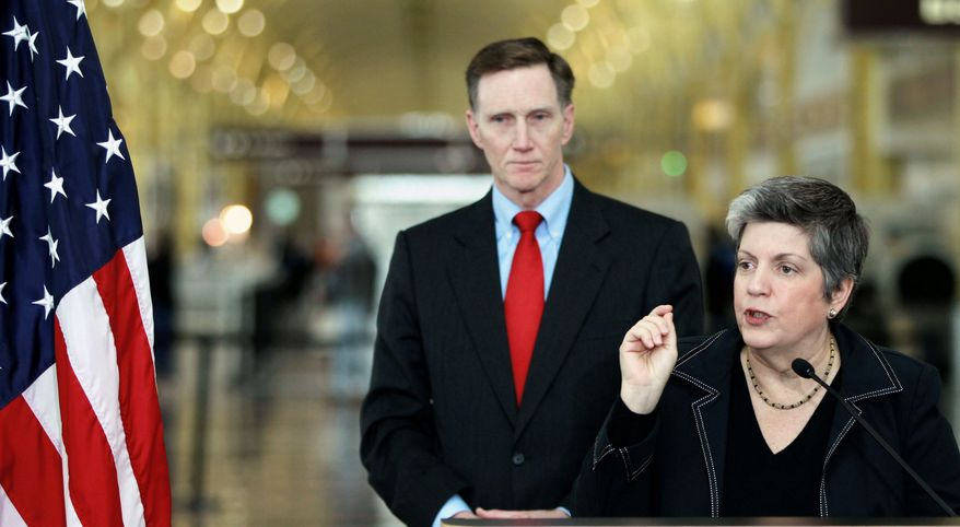Homeland Security Secretary Janet A. Napolitano, accompanied by Transportation Security Administration Administrator John Pistole, announces the expansion of a passenger pre-screening initiative on Wednesday.