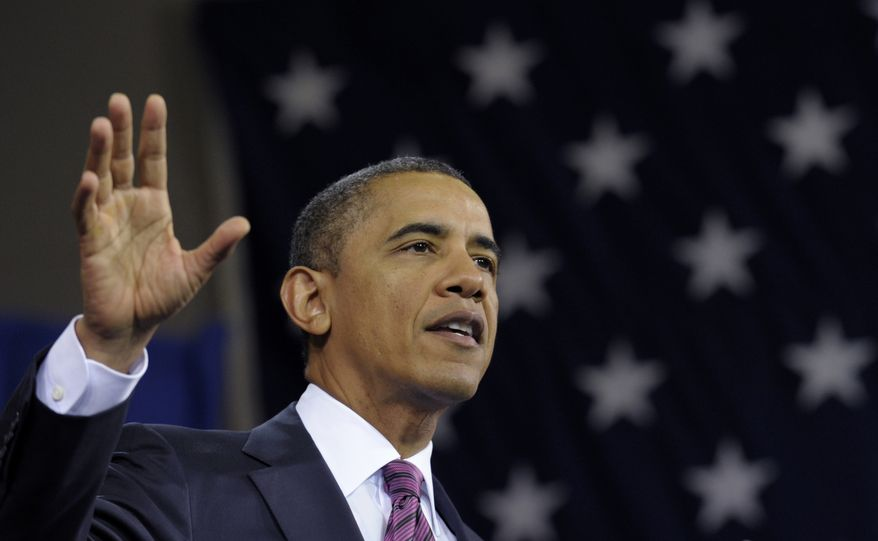 **FILE** President Obama speaks Feb. 1, 2012, at the James Lee Community Center in Falls Church, Va. (Associated Press)