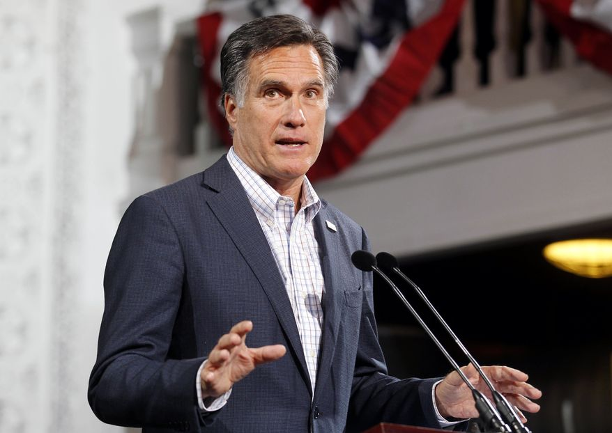 Republican presidential candidate and former Massachusetts Gov. Mitt Romney speaks Feb. 7, 2012, at his Colorado caucus night rally in Denver. (Associated Press)