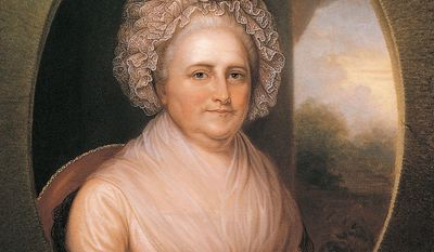 Long before the advent of photography and funding by the White House Historical Association, Rembrandt Peale painted first lady Martha Washington, allowing people through the centuries to see what she looked like. (Photograph provided by the National Portrait Gallery)