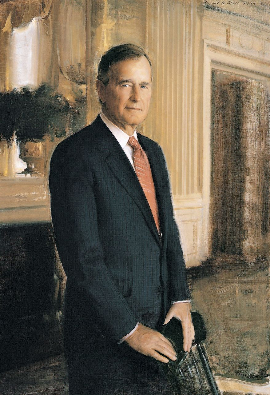 Ron Sherr painted George H.W. Bush at the family compound in Kennebunkport, Maine, but used a West Wing backdrop. (Photograph provided by the National Portrait Gallery)