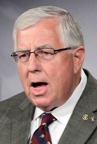 This Sept. 14, 2011 file photo shows Sen. Mike Enzi, R-Wyo., at the Capitol in Washington. Enzi is scheduled to explain his proposal Thursday Nov. 17, 2011 that would allow states to require Internet vendors to collect sales tax for all the states regardless of vendor's location. (AP Photo/J. Scott Applewhite, File)