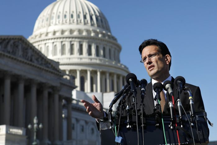 ** FILE ** House Majority Leader Eric Cantor, Virginia Republican, discusses the Stop Trading on Congressional Knowledge (STOCK) Act during a news conference on Capitol Hill in Washington on Tuesday, Jan. 31, 2012. (AP Photo/Jacquelyn Martin, File)