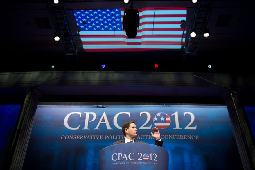 Sen. Marco Rubio, Florida Republican, speaks Feb. 9, 2012, at the Conservative Political Action Conference (CPAC) in D.C. The annual political conference draws thousands of supporters and prominent conservative figures. (Andrew Harnik/The Washington Times)