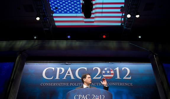 Sen. Marco Rubio (R-Fla.) speaks at the Conservative Political Action Conference (CPAC) held at the Marriott Wardman Park, Washington, DC, Thursday, February 9, 2012. The annual political conference draws thousands of supporters and prominent conservative figures. (Andrew Harnik / The Washington Times)
