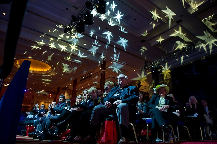 Audience members listen as Sen. Marco Rubio (R-Fla.) speaks at the Conservative Political Action Conference (CPAC) held at the Marriott Wardman Park, Washington, DC, Thursday, February 9, 2012. The annual political conference draws thousands of supporters and prominent conservative figures. (Andrew Harnik / The Washington Times)
