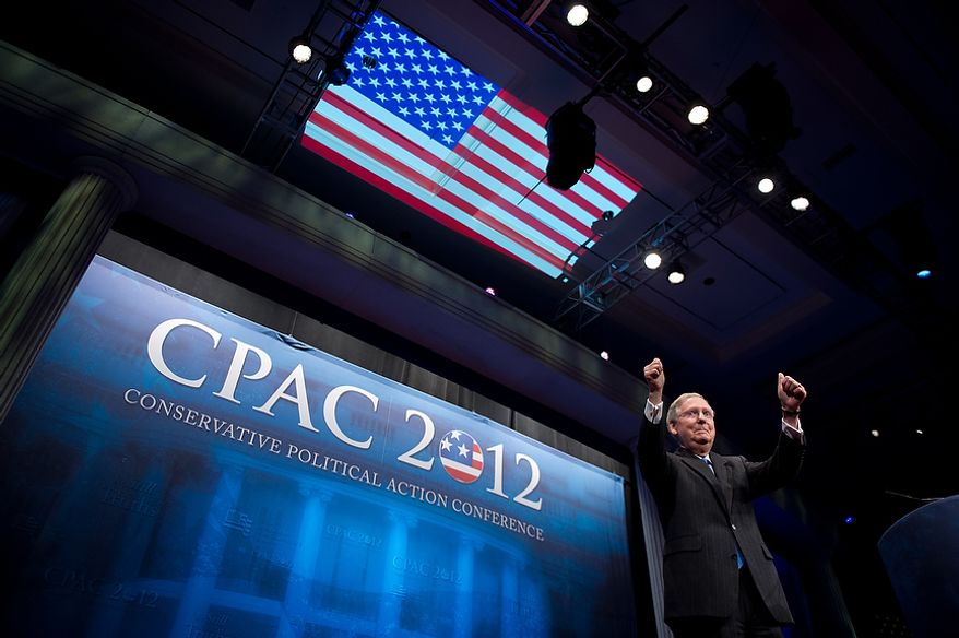 Sen. Majority Leader Mitch McConnell (R-Ky.) gives thumbs up after  speaking at the Conservative Political Action Conference (CPAC) held at the Marriott Wardman Park, Washington, DC, Thursday, February 9, 2012. The annual political conference draws thousands of supporters and prominent conservative figures. (Andrew Harnik / The Washington Times)