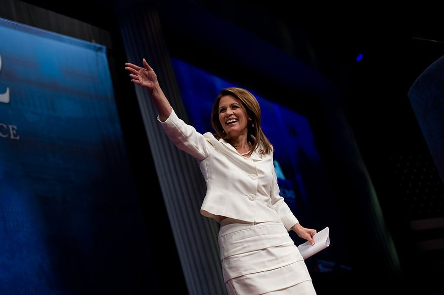 Former Presidential Candidate Michele Bachmann takes the stage to speak at the Conservative Political Action Conference (CPAC) held at the Marriott Wardman Park, Washington, DC, Thursday, February 9, 2012. The annual political conference draws thousands of supporters and prominent conservative figures. (Andrew Harnik / The Washington Times)