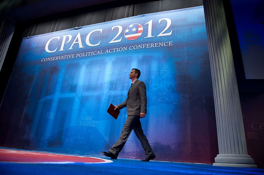 Actor Kirk Cameron takes the stage to speak at the Conservative Political Action Conference (CPAC) held at the Marriott Wardman Park, Washington, DC, Thursday, February 9, 2012. The annual political conference draws thousands of supporters and prominent conservative figures. (Andrew Harnik / The Washington Times)