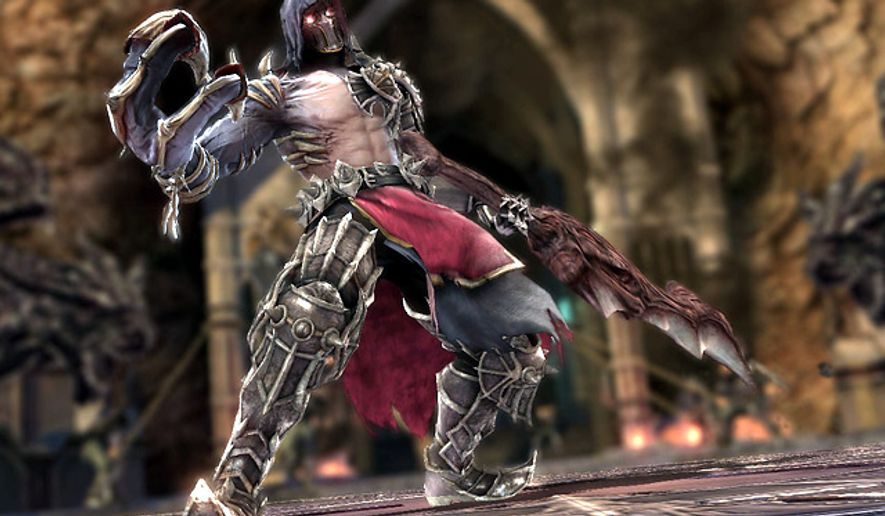 The legendary Nightmare looks for a fight in the video game SoulCalibur V.