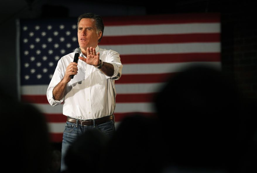 Republican presidential candidate and former Massachusetts Gov. Mitt Romney speaks Feb. 8, 2012, at a campaign rally in Atlanta. (Associated Press)