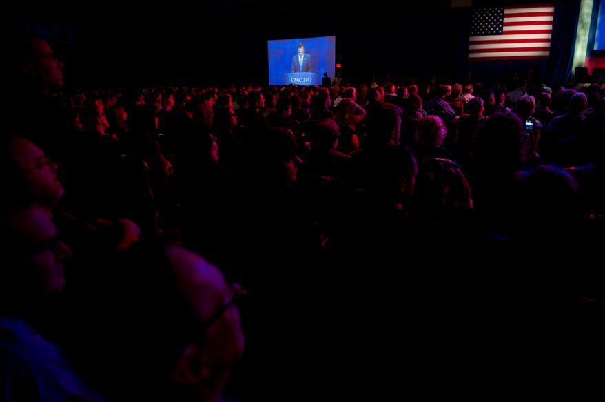 Republican Presidential Candidate and former Massachusetts Gov. Mitt Romney speaks at the Conservative Political Action Conference (CPAC) held at the Marriott Wardman Park, Washington, D.C., Friday, February 10, 2012. The annual political conference draws thousands of supporters and prominent conservative figures. (Andrew Harnik/The Washington Times)