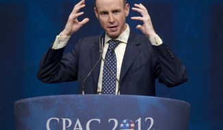 Daniel Hannan, a member of the European Parliament who represents South East England for the Conservative Party, addresses America's political right at the Conservative Political Action Conference (CPAC) in Washington, Saturday, Feb. 11, 2012. (AP Photo/J. Scott Applewhite)