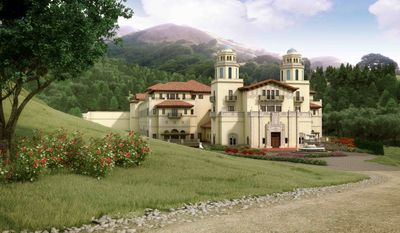 In this artist rendering released by Lucas Films, a drawing of the proposed Industry Light & Magic campus, is shown. Residents in a tony Marin County neighborhood just north of San Francisco have balked at filmmaker George Lucas' plans to build his next Industry Light & Magic campus in their upscale, rural community. (AP Photo/Lucas Films)