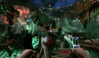 A member of the Brotherhood is about to meet the Swarm in the video game The Darkness II.