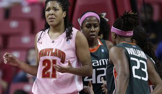 Maryland forward Tianna Hawkins (21) reacts after Miami guard Shenise Johnson (42) was fouled by Maryland's Lynetta Kizer in the second half of an NCAA basketball game in College Park, Md., Sunday, Feb. 12, 2012. Miami won 76-74. (AP Photo/Patrick Semansky)