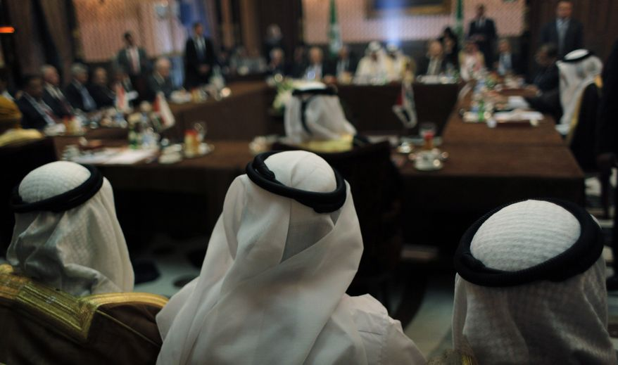 The Arab League's Syria group meets in Cairo on Sunday, Feb. 12, 2012, as the league considers a proposal to revive its suspended observer mission in Syria by expanding it to include monitors from non-Arab Muslim nations and the United Nations, officials from the 22-member group said. (AP Photo/Nasser Nasser)