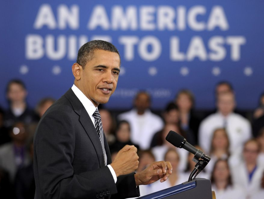 """President Obama speaks Feb. 13, 2012, about the """"Community College to Career Fund"""" and his 2013 budget at Northern Virginia Community College in Annandale, Va. (Associated Press)"""