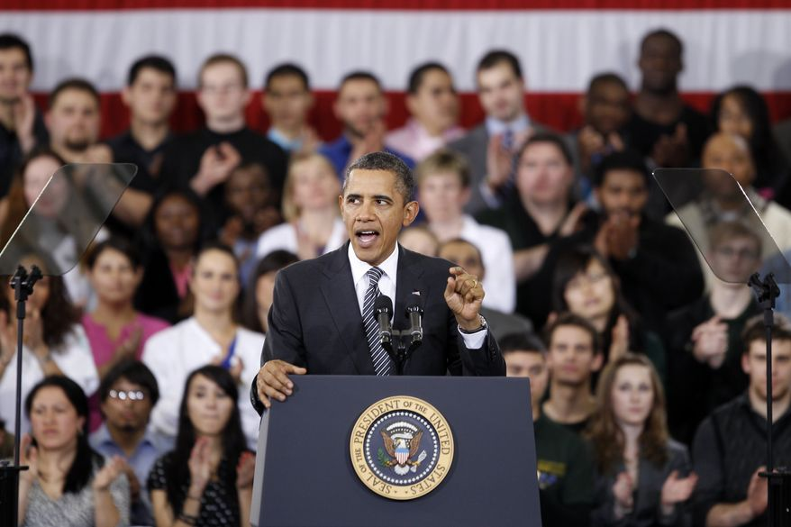 "President Obama speaks Feb. 13, 2012, about the ""Community College to Career Fund"" and his 2013 budget at Northern Virginia Community College in Annandale, Va. (Associated Press)"