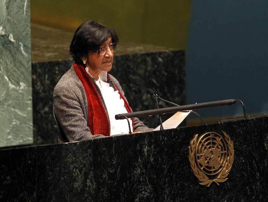 High Commissioner for Human Rights Navi Pillay speaks Feb. 13, 2012, during a meeting of the United Nations General Assembly at U.N. headquarters to discuss the human rights situation in Syria. (Associated Press)
