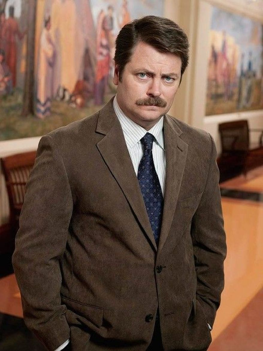"NBC ""I'm happy to just be a petrified tree stump where I get a laugh because a bird lands on me and picks an insect out of my hair,"" actor Nick Offerman says of his ""Parks and Recreation"" character Ron Swanson, a masculine role model plagued by no breach of confidence."